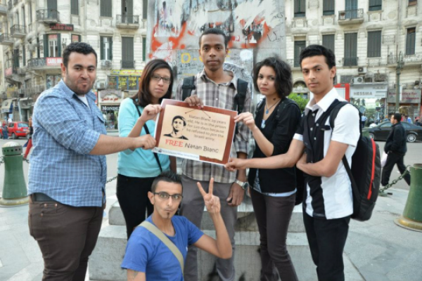 Egyptian peace activists in a Cairo vigil for Israeli Natan Blanc (Photo: No to Compulsory Military Service)