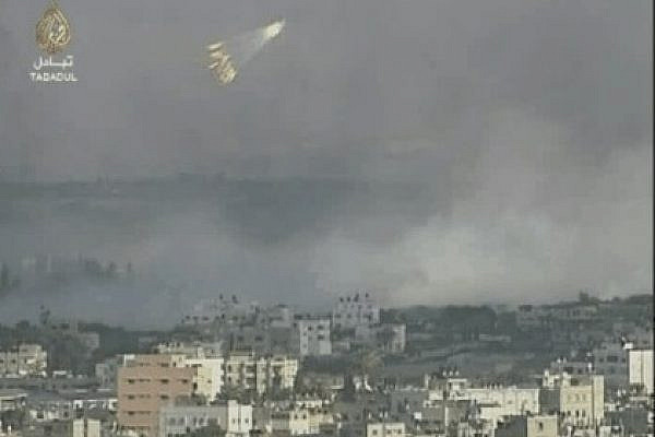 IDF White Phosphorus bomb over Gaza during operation Cast Lead, December 2008 (Image from Al Jazeera broadcast)