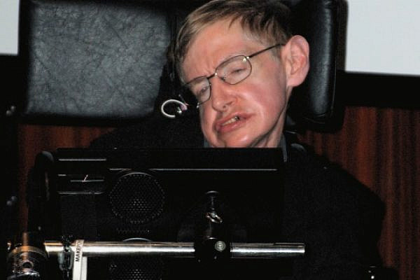 Stephen Hawking during the press conference at the National Library of France (Public Domain)