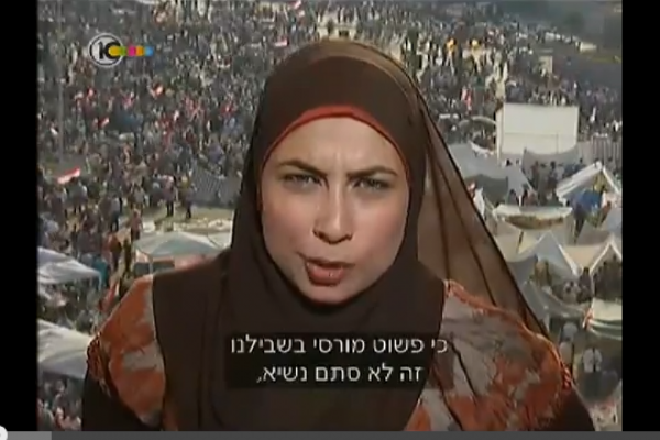 Egyptian journalist live from Tahrir, July 2, 2013 (Screenshot, Ch.10)