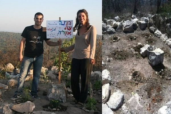 The Iqrit garden before and after (Haggai Matar and Iqrit's Facebook page)