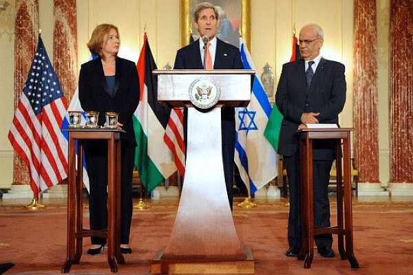 U.S. Secretary of State John Kerry, Israeli Justice Minister Tzipi Livni, and Palestinian Chief Negotiator Saeb Erekat address reporters on the Middle East Peace Process Talks at the U.S. Department of State in Washington, D.C., on July 30, 2013. [State Department photo/ Public Domain]
