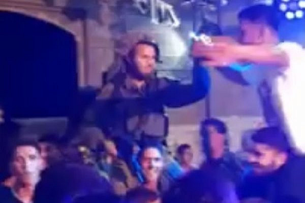 IDF soldier dancing at a Palestinian wedding (YouTube screenshot)