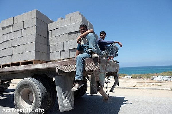 Truck transporting construction materials in Gaza Strip, May 7, 2012. Due to the blockade, construction materials are lacking in Gaza.