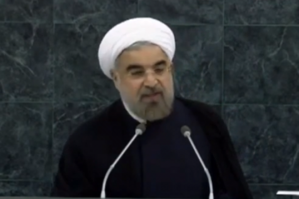 Iranian President Hassan Rouhani speaks at the UN General Assembly. (screenshot: YouTube)