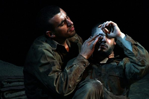 """Jenin Freedom Theatre actors Faisal Abu Alhayjaa (left) and Ahmed Alrakh performing Athol Fugard's """"The Island,"""" which recently toured the U.S. (Courtesy of Jenin Freedom Theatre)"""