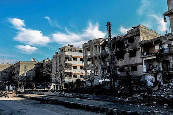 Destruction due to shelling in Douma, a town under siege northeast of Damascus. (photo: Adasa Sham)
