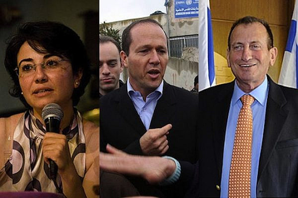 From left to right: MK Hanin Zoabi, Jerusalem Mayor Ron Barkat, Tel Aviv Mayor Ron Huldai (photo: Activestills/U.S. Embassy)
