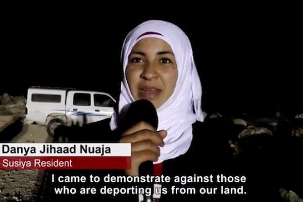 A Palestinian resident of Susya at a demonstration against Ehud Banai's performance (Screenshot: Israel Social TV)