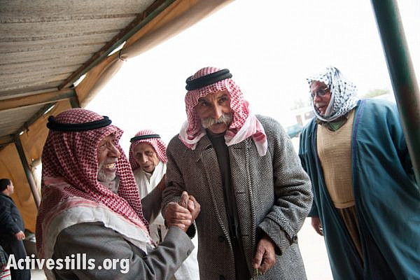 Sheikh Sayah Aturi returns to his village of Al Araqib, Israel, after winning a court appeal granting him access to his land. (photo: Ryan Rodrick Beiler/Activestills.org)