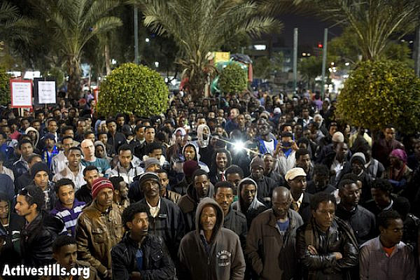 "African asylum seekers march in Tel Aviv to protest prolonged detention, arrests made during ""freedom marches"" earlier in the week. (photo: Activestills.org)"