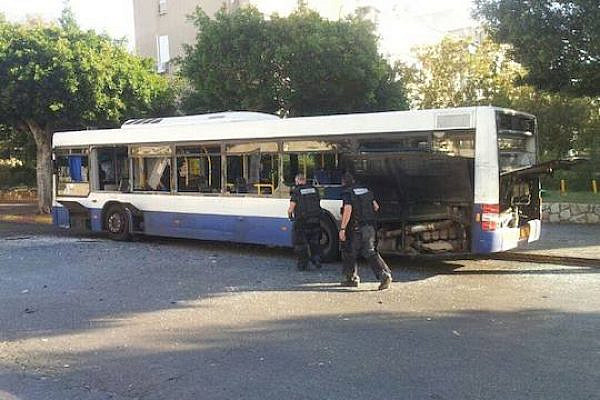Damage after a bomb exploded on an Israeli bus in the Tel Aviv suburb of Bat Yam, December 22, 2013. A policewoman's eardrums were damaged in the attempted attack. (Photo: Israel Police)