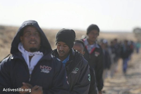 Asylum seekers walk in the Negev during the 'march for freedom'. (Photo: Activestills.org)