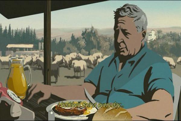 "Screenshot of Ariel Sharon from the animated Israeli film ""Waltz With Bashir."""