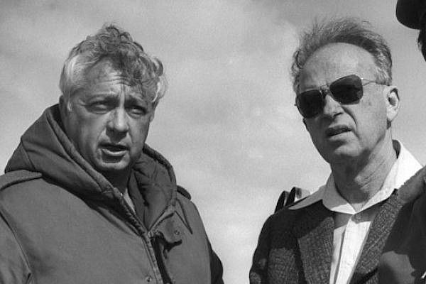 Generals-turned-prime ministers Ariel Sharon (Left) and Yitzhak Rabin. (Photo: GPO)