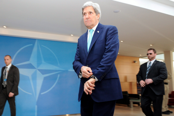 .S. Secretary of State John Kerry arrives at NATO Headquarters in Brussels, Belgium, for ministerial meetings on April 1, 2014. (State Department photo)