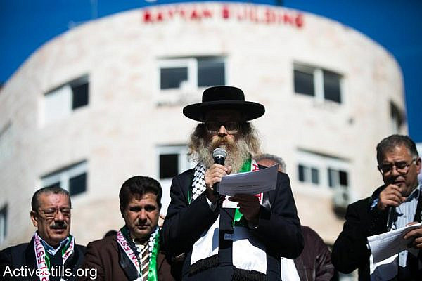 Members of Neturei Karta celebrate Palestine's UN bid in Ramallah. (photo: Activestills)