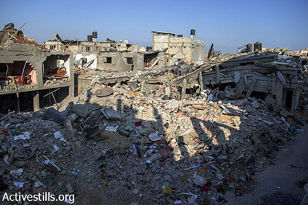 A view from Abu Odeh's house toward the neighbourhood. August 12, 2014. (Basel Yazouri/Activestills.org)