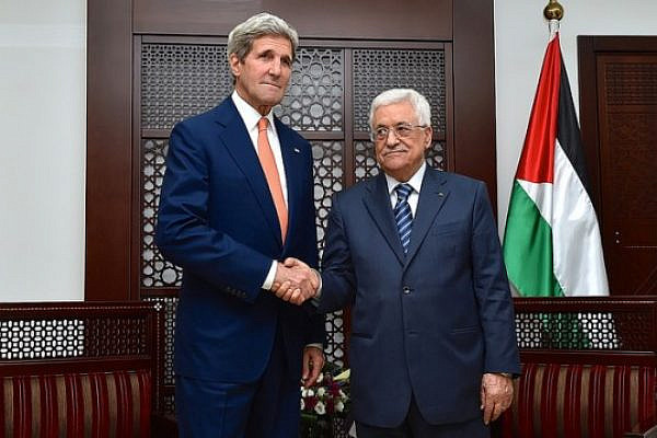 U.S. Secretary of State John Kerry shakes hands with Palestinian Authority President Mahmoud Abbas in Ramallah, West Bank, on July 23, 2014, before the two sat down for a discussion about a cease-fire in fighting between Israel and Hamas in the Gaza Strip (photo: U.S. State Department)