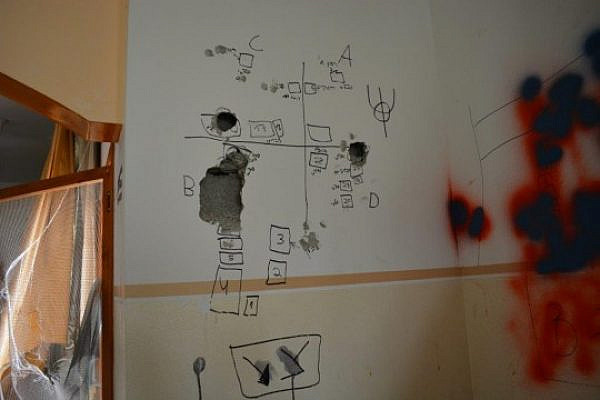 Military plans scribbled on the wall of a Palestinian home used as a military post by Israeli soldiers during Operation Protective Edge, the Gaza Strip, August 2014. (photo: Alexandr Nabokov)
