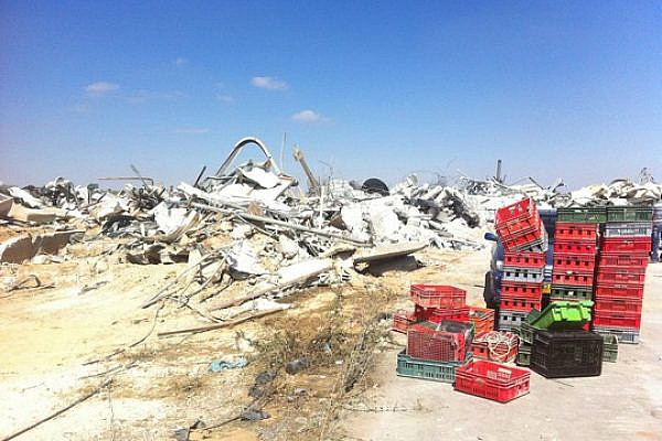 The remains of the Al-Rayyan yogurt factory after the Israeli army demolished it. (Photo by Youth Against Settlements)
