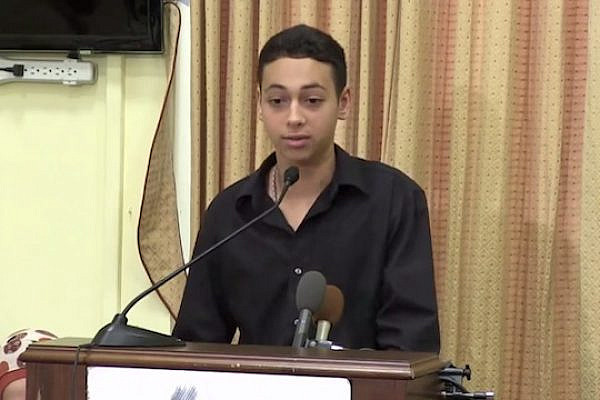 Tariq Abu Khdeir speaks about his beating at a CAIR panel in the U.S. (Screenshot, CAIR)