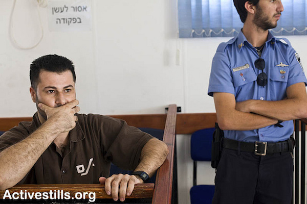 Abdullah Abu Rahmah at his trial in the Ofer Military Court, September 15, 2010. (Photo by Oren Ziv/Activestills.org)