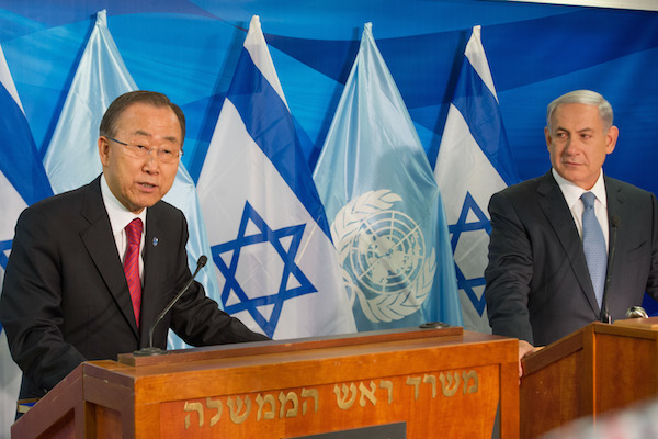 UN Secretary-General Ban Ki-moon speaks to the press alongside Israeli Prime Minister Benjamin Netanyahu in Jerusalem, October 13, 2014. (UN Photo/Eskinder Debebe)