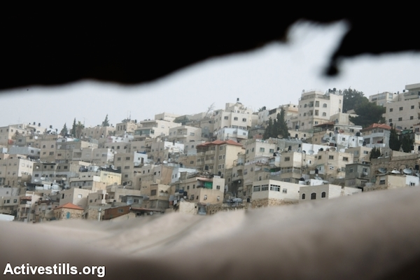 The East Jerusalem neighborhood of Silwan is seen from a protest tent built by local activists, March 3, 2014. (Photo by Ryan Rodrick Beiler/Activestills.org)