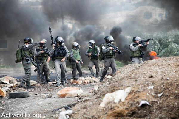 File photo of Israeli Border Police officers during clashes in the West Bank. (Photo by Yotam Ronen/Activestills.org)