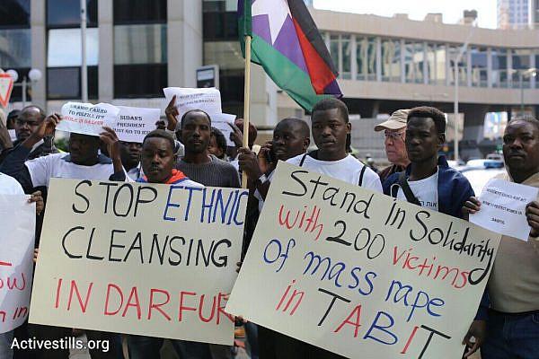 Sudanese asylum seekers protest outside the European Union Embassy, November 25, 2014, Ramat Gan, Israel. (photo: Oren Ziv/Activestills.org)