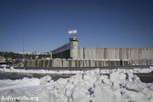 The Ofer military prison in the snow, December 15, 2013. (Photo by Oren Ziv/Activestills.org)
