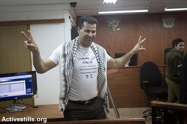 Abdullah Abu Rahmah in Ofer Military Court, February 8, 2015. (Photo by Oren Ziv/Activestills.org)