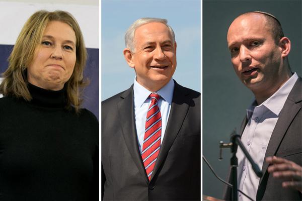 Tzipi Livni, Benjamin Netanyahu, Naftali Bennett (Photos by Activestills, GPO)