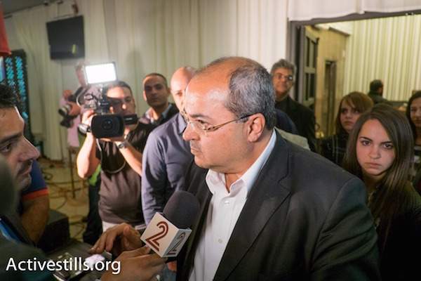 Joint List's Ahmad Tibi is seen at campaign headquarters on election night, Nazareth, Israel, March 17, 2015. (photo: Oren Ziv/Activestills.org)