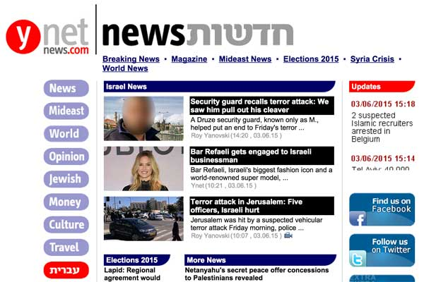 Illustrative screenshot of Ynet News