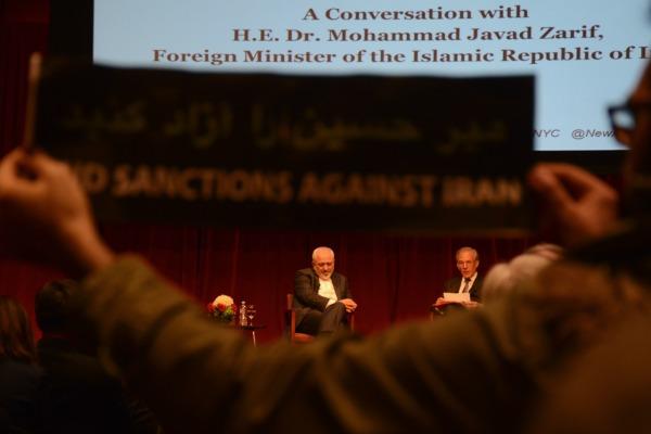 Mohammad Zarif (left)  with the Washington Post's David Ignatius in New York City, April 29 2015 (credit: Gili Getz)