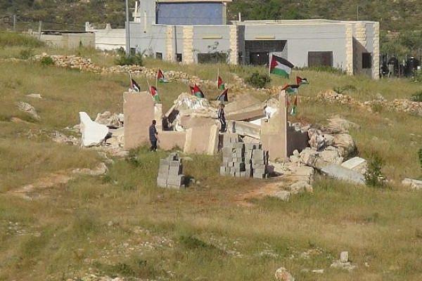 Nabi Saleh villagers protest house demolition. Credit: Bilal Tamimi.