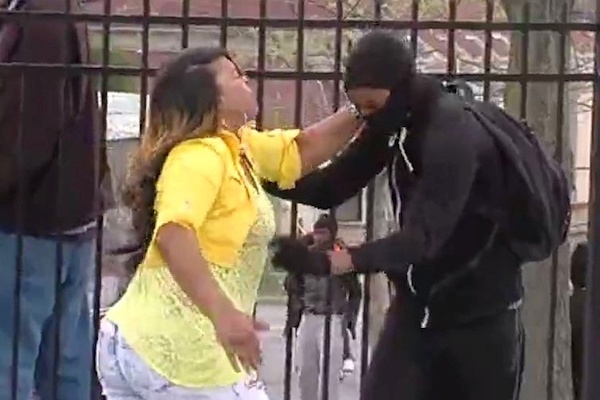 Toya Graham pulls her son out of riots in Baltimore (Screenshot)