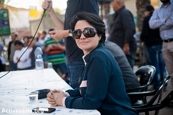 MK Haneen Zoabi at a Joint List elections event, March 14, 2015, Jaffa, Israel. (photo: Yotam Ronen)