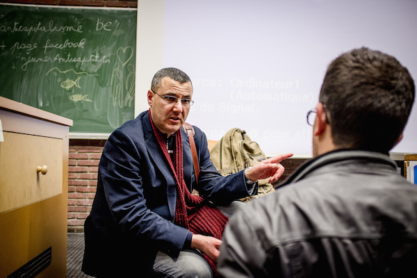 Illustrative photo of BDS Movement co-founder Omar Barghouti in Brussels, April 30, 2015. (Photo by intal.be / CC 2.0)