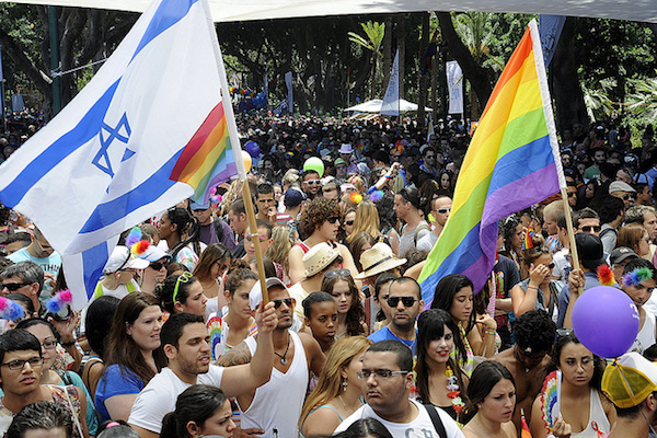 Rainbow and Israeli flags at the Tel Aviv Pride Parade, June 8, 2012. (US Embassy/State Dept. photo)