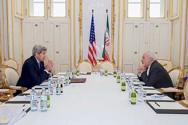 U.S. Secretary of State John Kerry sits across from Iranian Foreign Minister Javad Zarif on June 30, 2015, in Vienna, Austria, before a one-on-one meeting amid negotiations about the future of Iran's nuclear program. (State Department photo)
