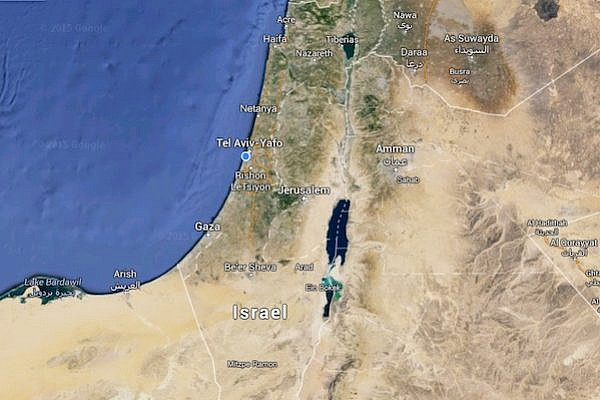 Map of Israel and Palestine.