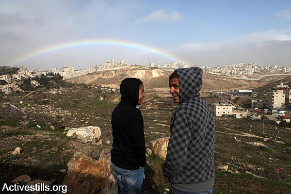 "Palestinian youth are seen in front of Al Issawiya village, East Jerusalem, Wednesday, January 11, 2012. A new ""national park"" planned by the Jerusalem municipality will cause extensive confiscation of lands from Al Issawiya and Al Tur neighborhoods. Designating sites as national parks is a common practice of the Jerusalem municipality aimed at limiting the very dense and populated Palestinian East Jerusalem neighborhoods, cutting off their possibilities of development and working on the few remaining agricultural lands. (photo: Anne Paq/Activestills.org)"