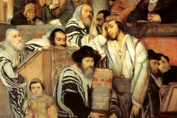 Jews Praying in the Synagogue on Yom Kippur, 1878 painting by Maurycy Gotltlieb, in the artist's home town of Drohobych (Tel Aviv Museum of Art)