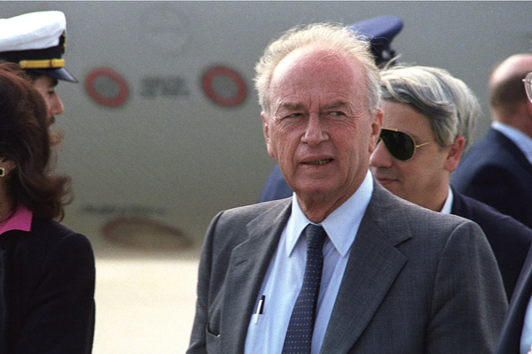 Yitzhak Rabin at Andrews Air Force Base, September 10, 1986. (U.S. Air Force photo)