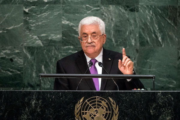 Palestinian Authority President Mahmoud Abbas address the general debate of the UN General Assembly's 70th session, September 20, 2015. (UN Photo/Cia Pak)