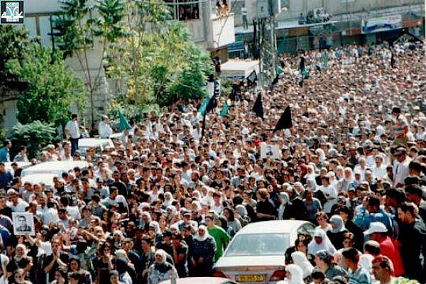 A demonstration in northern Israel during the events of October 2000. (Courtesy of Adalah)