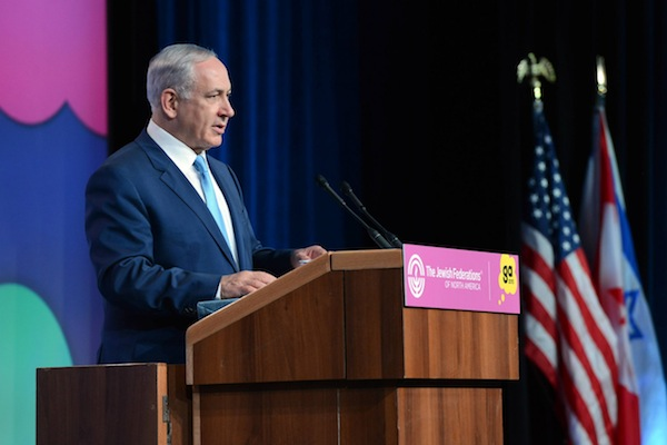 Prime Minister Benjamin Netanyahu speaks at the Jewish Federations of North America General Assembly, November 10, 2015. (Haim Zach/GPO)